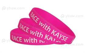 Hot Pink Printed Silicone Wristband-PW12ASO