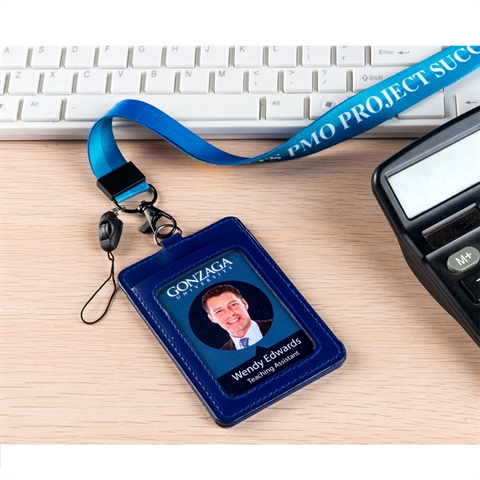 "3/4""(20mm) Full Color Lanyards with PU Leather  Name Tag Holder-WTGT"