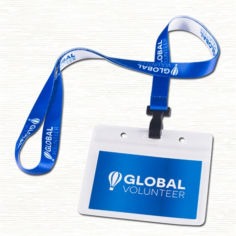"5/8""(15mm) Plastic Hook Lanyards with Horizontal  Name Badge Holder-B25A"